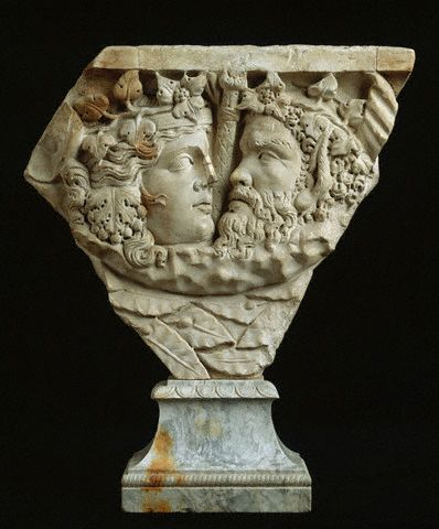 Fragment of sarcophagus with the Heads of Bacchus and Ariadne