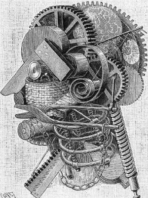 Engraving of the interior of an inventor's head-fantastic collection of gears