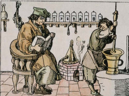 Master of Alchemy Dictating One of His Recipes to an Apprentice