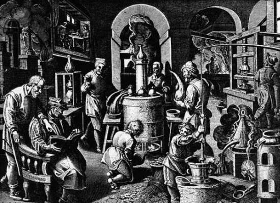 Sixteenth century copper engraving by Johannes Stradanus, of alchemists in a workshop.