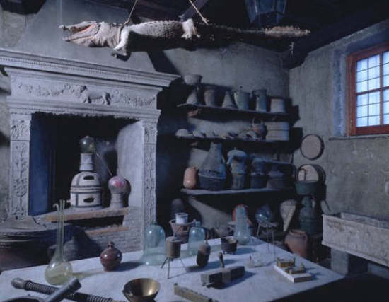Alchemist's Laboratory Display at Health Museum. Rome, Italy