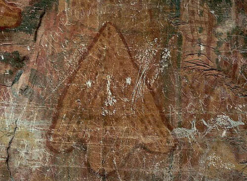 Prehistoric Rock Paintings of an Arrowhead and Symbols