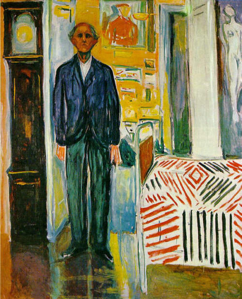 Munch Edvard Self-Portrait Between the Clock and the Bed