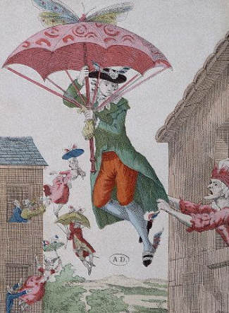 Parachute cartoon 17th c