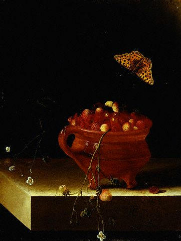 A pot of  strawberries with a butterfly by A. Coorte 1695