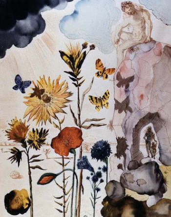 Flowers and Butterflies by Salvador Dali. 1950