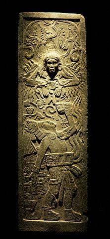 Astronomical Stele. The priest is dressed as a player from the sacred ball game