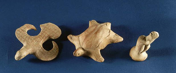 These sculptures of a bird, a tortoise and a squirrel are from early settlements of the Indus Valley Civilization