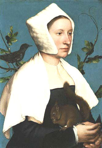 A Lady with a Squirrel and a Starling by Han Holbein the Younger 1526-1528