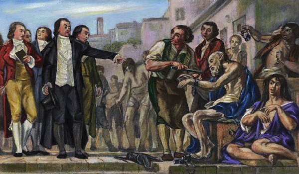 Philippe Pinel demanding the removal of chains from the insane at the Bicetre Hospital in Paris. A painting by Charles Muller