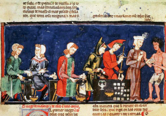 Medieval Manuscript Illumination of Dice Makers From Alphonse Le Sage's Las Cantigas 13th с