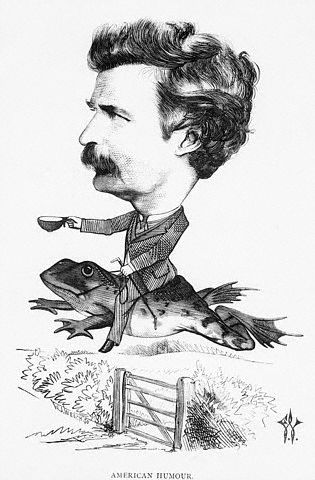 Caricature of Mark Twain riding a jumping frog