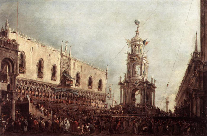 Francesco Guardi Carnival Thursday on the Piazzetta 1766
