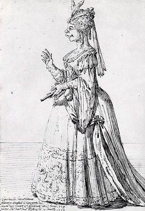A caricature of Farinelli in a female role