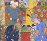 Persian youth playing chess with two of his suitors