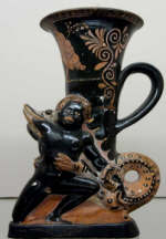 Crocodile devouring an African boy Apulian red-figured plastic rhyton