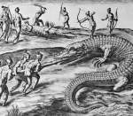 Engraving by Theodor de Bry after Crocodile Hunting by Jacques Le Moyne