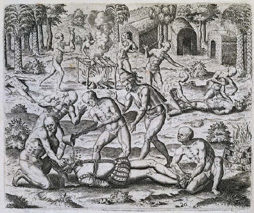 The Indians Pour Molten Gold into the Mouths of the Christians by Theodor de Bry