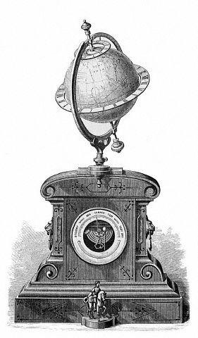 a time globe, adjustable so that its axis may be placed at the proper inclination and direction to give it the same position as the earth