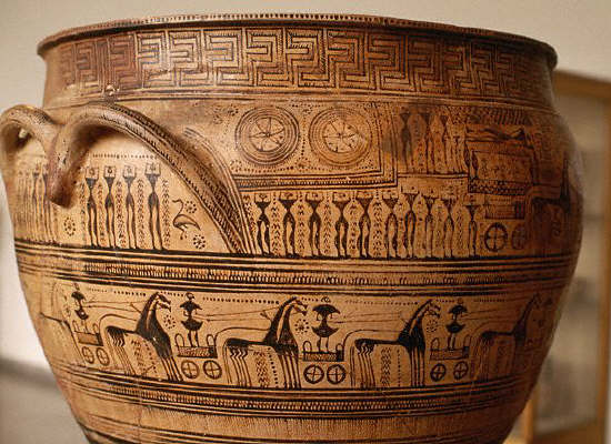 Ancient Greek Funerary Krater From the Dipylon ca. 750 B.C