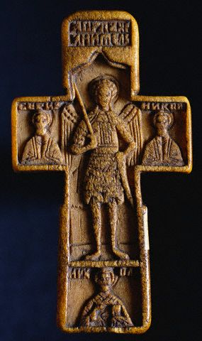 Russian Ivory Cross Pendant with the Archangel Michael 16th с