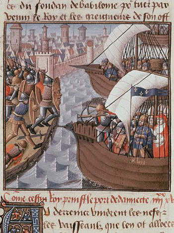 Speculum Majus: the Conquest of Damietta by Louis IX 15th century