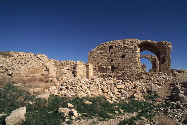 The ruins of Shobak Castle, a fort used by the Crusaders, stands in Jordan