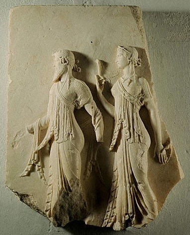 High Relief With Dionysus and one of the Graces