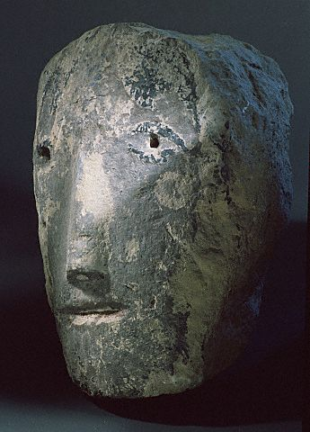 Carved Celtic Stone Head