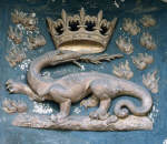 The salamander emblem on the coat of arms of Francois Ler at a chateau at Blois