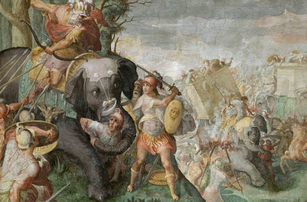 Hannibal Fighting a Roman Legion in the Alps by School of Raphael