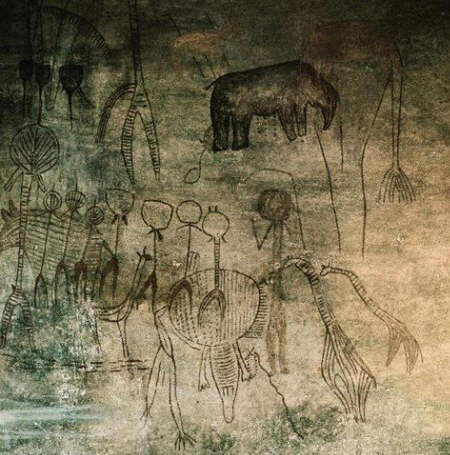 Cave Painting Depicting a Hunting Scene