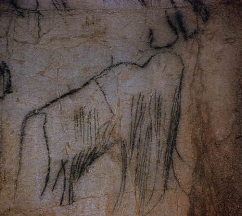 Rock Painting of a Mammoth at Pech Mercle Cave