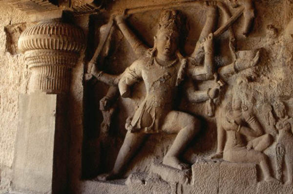 Relief sculpture of Shiva's dance in the elephant skin