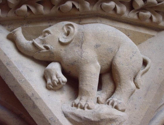 Elephant carved on the main portal of Metz cathedral