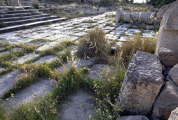 stone paving blocks at the ruins of Eleusis, Greece