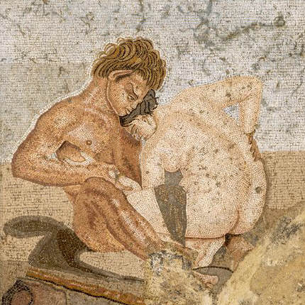 Ancient Roman Mosaic with Satyr and Nymph ca. 80 A.D.