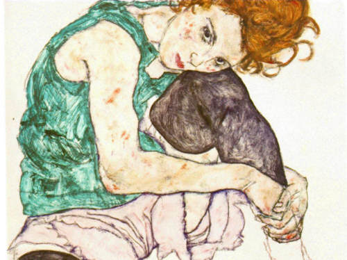 Egon Leo Adolf Schiele. Sitting Woman with Legs Drawn Up
