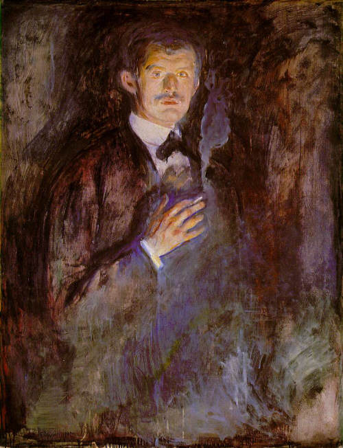 Edvard Munch. Self-Portrait with Burning Cigarette