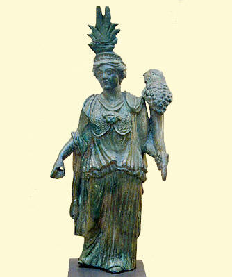 Statuette of goddess with syncretic religious symbolism, Isis, Minerva and Fortuna