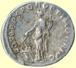 The Roman coins exhibit the image of Fortuna