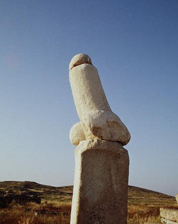 A giant phallus stands outside the Sanctuary of Dionysus on the island of Delos