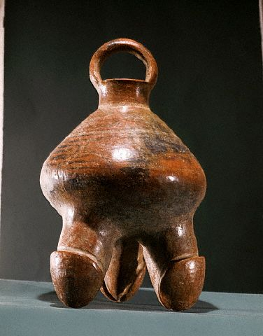 A Calima ceramic vessel, supported by three phallus-shaped legs, ca. 300 A.D