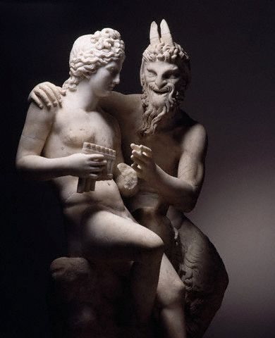 Detail of Roman Statue Pan and Daphnis