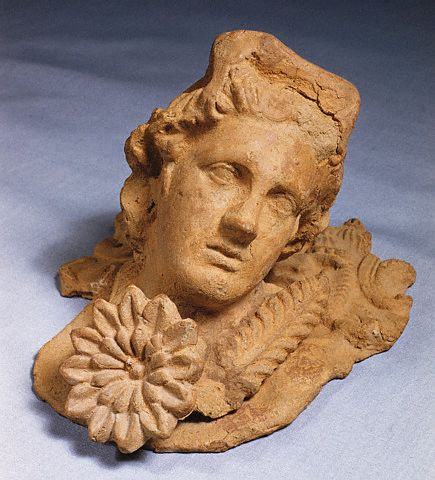 Greco-Roman Terra-cotta Head Based on the Apollo Belvedere ca. 1st c B.C.