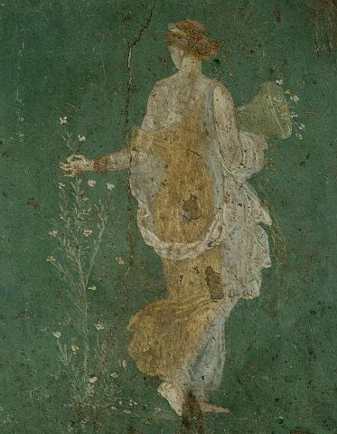 Ancient Roman Fresco Painting of Flora Picking Flowers. Before 79 A.D.