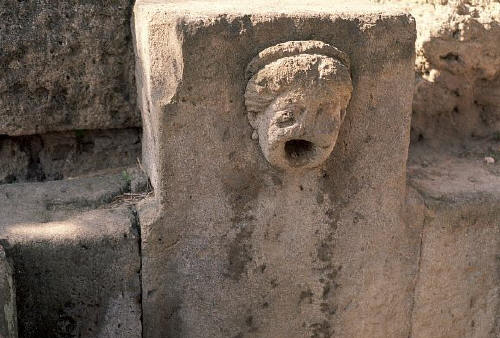Fountain at Excavated Ruins. Pompeii, Italy