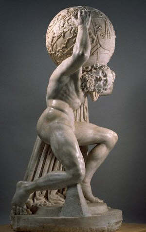 Ancient Roman Statue of Atlas Supporting the World