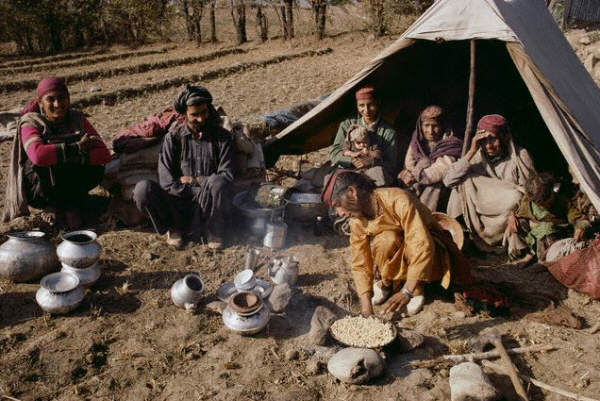 A Bakarwaal Gypsy family at camp