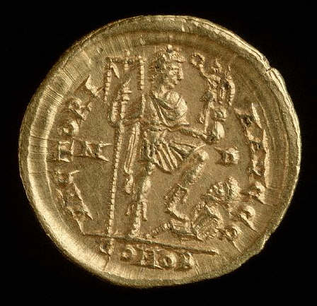 Coin with Relief of Bearded Gladiator Receiving Laurels of Victory from Roman Emperor Nero